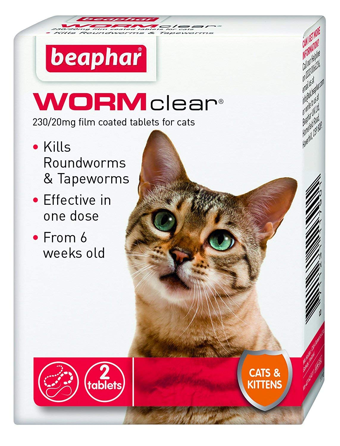 Beaphar WORMclear Cat Kitten Wormer for Roundworm Tapeworm Vet Strength Tablets