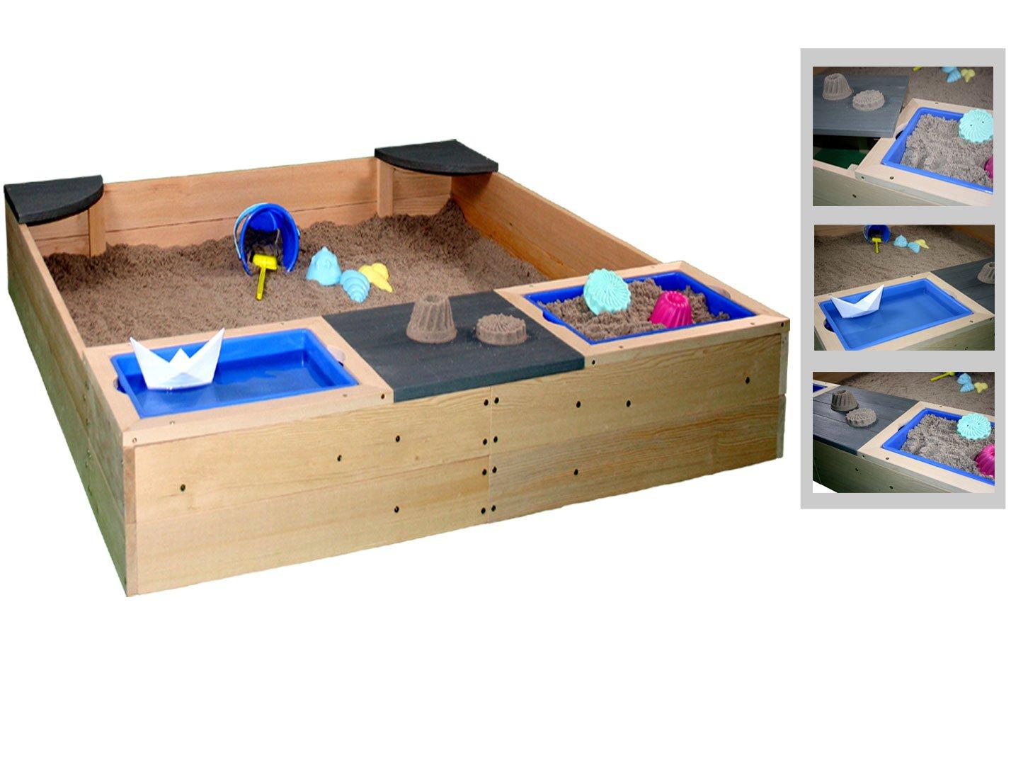 Sun Sandkasten als Sand und Wasser Sandkiste aus Massivholz + Plane u. Bodenvlies by Woodinis®