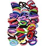 Elastici per capelli per donna o ragazza, per legare i capelli a coda; 8 mm di larghezza, colori misti; in confezione da 90