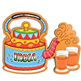 SkyWalker India Souvenir Wooden Fridge Magnet-Indian Chai Fridge Magnet (Multicolour)