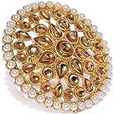 Zaveri Pearls Gold Tone Circular Shape Traditional Finger Ring For Women-ZPFK8826