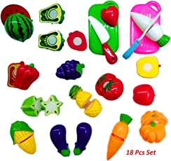 Zaid Collections Realistic Sliceable Fruits and Vegetables Cutting Play Kitchen Set Toy (18 pcs Set) with Various Fruits,Vegetables,Knives and Cutting Boards for Kids,Multi Color.