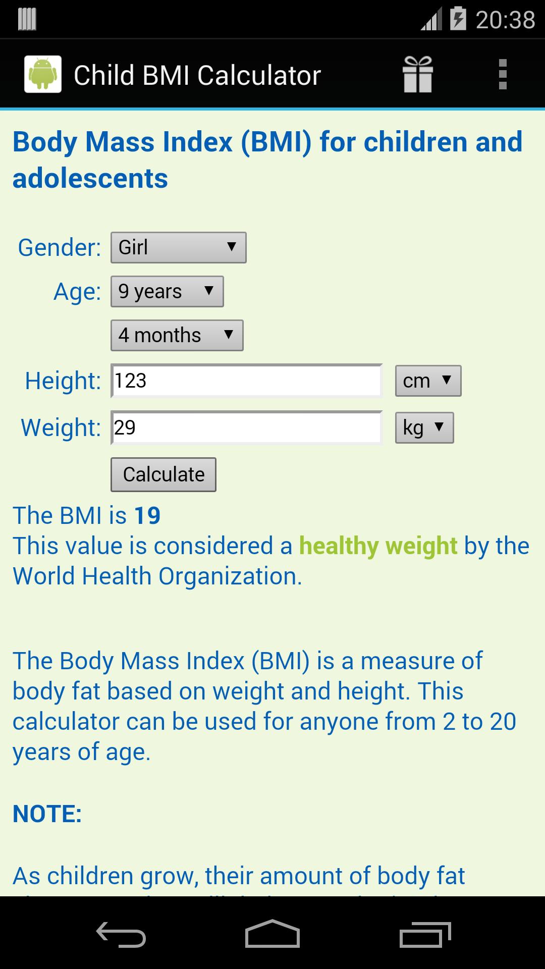 BMI Rechner für Kinder Amazon.de Apps für Android