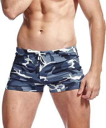 AIMPACT Men's Swim Trunks Boxer Brief Swimsuit Square Leg Swimwear for Men