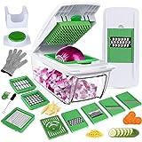 Mandoline Cuisine 8 en 1 Multifonction Professionnelle Couper les Legumes Séparer les Oeufs Vert 8Lames Différentes Couteau en Acier Inoxydable Rapide et Facile à Nettoyer-Gants et Brosse par Bonus
