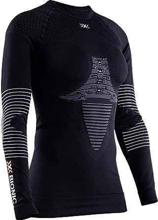 X-Bionic Energizer 4.0 Round Neck Long Sleeves, Strato Base Camicia Funzionale Donna, Nero (Opal Black/Arctic White), XS