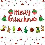 Jollyboom Banner de Feliz Grinchmas Banner de Navidad con Tema de Grinch para Vacaciones de Navidad Suministros de decoración