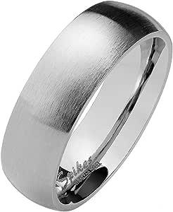 Paula & Fritz®, anello in argento opaco, in acciaio inox, da donna, di fidanzamento, di amicizia, da uomini, per partner