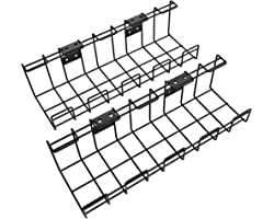 KD Essentials – Kabelkorf van metaal, 2 st. per verpakking – kabelhouder (bureaublad onderbouw of aan de wand, schroefmontage