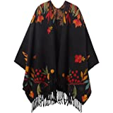 Desigual Poncho_Flor Londres Bufanda para Clima frío, Negro, U para Mujer