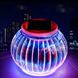 Solar Mosaic Glass Ball Garden Lights,KINGCOO Waterproof Color Changing Mood Night Lights Solar Outdoor Table Lamp for…