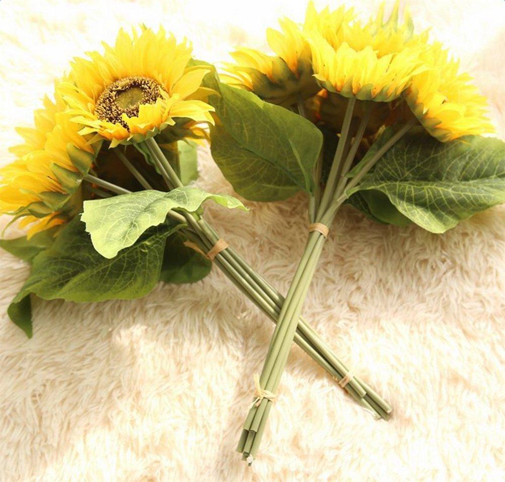 Leisial Ramo de Novia Girasol Decoración del Hogar Artificial Falso Flor para Boda Nupcial Partido Hogar Oficina de…