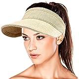 MAYLISACC Sombrero Paja, Sombrero Mujer Verano Playa, Plegable con Sombrero de ala Ancha, Visera Mujer Protección UV para Gol