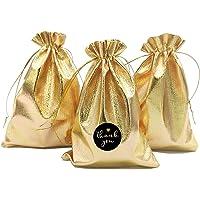 DUGYIRS 100 Pezzi Oro Sacchetti Coulisse Borse 13 cm x 18 cm per Gioielli Orecchini Bracciali Festa Nozze Biscotti…
