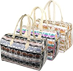 Stylish Round Design Elegent Handheld Spacious Luggage Travel Duffle Bag for Woman(17x8.5x11 inch)-Assorted Color
