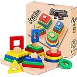 Jouets de Développement Bois pour Bébé, Enfant, Jouets en Bois Puzzles Éducatifs Formes À Trier Empiler Jeu de Tri Couleurs,