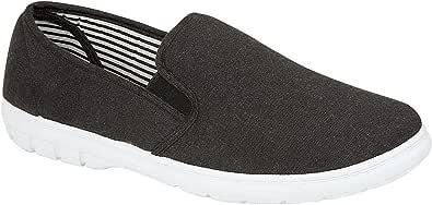 Mens Shoe Tree Brett Canvas Slip On Wider Fit Plimsoll Pump Trainer Slipper Deck Shoe Size 6-12