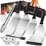 Overmont Teppanyaki Grillspatel, 13-delige accessoireset met verwarmingsplaat en grillschraper, flipper-accessoires, set van