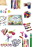 FREYJA 115 items multipurpose craft kit having Pom pom, pipe cleaners, ice sticks, googly eyes, craft scissor, glitter…