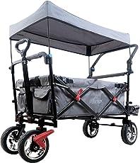 FUXTEC faltbarer Bollerwagen FX-CT800 grau klappbar mit Dach, Vorder- und Hinterrad-Bremse, Vollgummi-Reifen, Schubbügel und nun auch mit Innenraumverlängerung für extra lange Beine, für Kinder geeignet - Das Original !