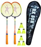 RK SON Fluorescent Badminton Rackets Set of 2 Pcs and 3 Nylon Shuttle and 1 Cover