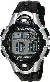 Sonata Super Fibre Digital Grey Dial Unisex Watch   87012PP04