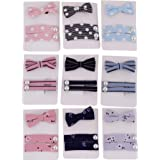 Crya Pink, Light Blue and Black Fabric Hair Clip and Band for Kids (Set of 9)