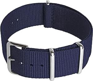 CampTeck Cinturino (24|22|20|18mm) Cinturino Orologio Ricambio Cinturino Nylon Fibbia ad Ardiglione in Acciaio Inossidabile Orologi con Barre a Molla