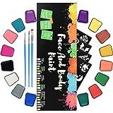 RIOGOO Kit di Pittura per Il Viso per Bambini Adulti Kit di Vernice per Il Viso Professionale per Pelli sensibili con 16 vasi