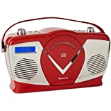 auna RCD-70 DAB Retro CD-Radio • DAB-Radio • Retro-Radio • Bluetooth • 14 W • UKW • DAB+ • CD-Player • USB • AUX-In • Kopfhörerausgang • Batteriebetrieb möglich • Tragegriff • Retro-Design • rot