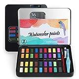 SS SHOVAN Akvarellfärg set, 36 färger reseficka bärbar färgsats presenter perfekt för nybörjare spirande student hobbyister o