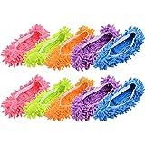 MINGZE 10 pcs (5 paires) Duster Balai laveurs Chaussons Chaussures Couverture, poussière Nettoyeur Réutilisable Microfibre Pi