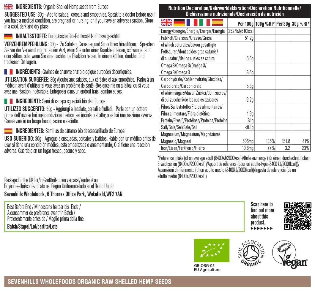 Sevenhills Wholefoods Organic Shelled Hemp Seeds 1kg 3