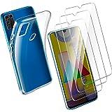 Leathlux Coque Samsung Galaxy M31 Transparente + 3 × Verre trempé Protection écran, Souple Silicone étui Protecteur Bumper Housse Clair TPU Gel Case Cover Coque pour Samsung Galaxy M31