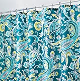 mDesign Anti-Mould Shower Curtain - 183 cm x 183 cm - Paisley Fabric Shower Curtain - Bathroom Shower Curtains - Water-Proof Shower Curtains - 12 Reinforced Metal Eyelets - Teal