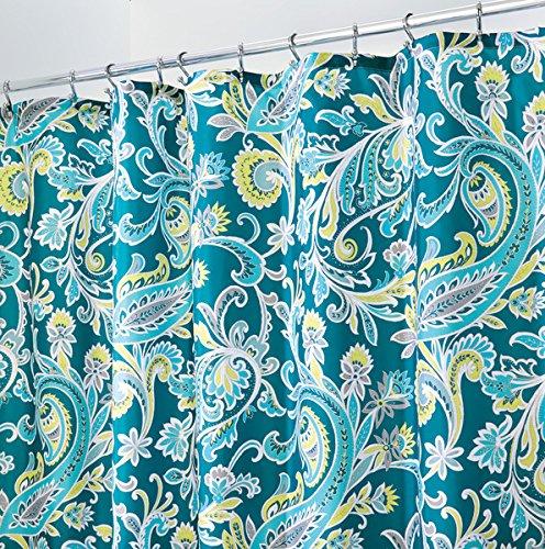 mDesign Duschvorhang mit türkischem Muster - ideales Badzubehör mit perfekten Maßen: 183 cm x 183 cm - langlebige Duschgardine - Farbe: blau / grün