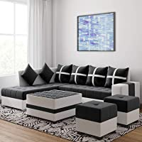 Torque - Jamestown L Shape 8 Seater Fabric Sofa Set for Living Room with Center Table and 2 Puffy (Left Side, Black)