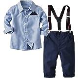 Conjunto de ropa de algodón para bebé, para otoño, para niños pequeños, camisa, pantalón y tirantes, traje de bautizo