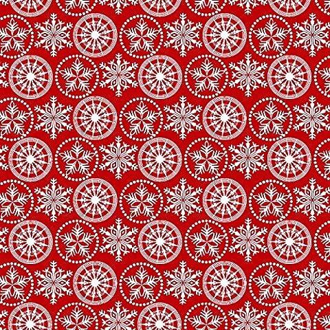 Vacaciones Frost franela Navidad Círculos/Rojo ~ tela de algodón de Henry Glass