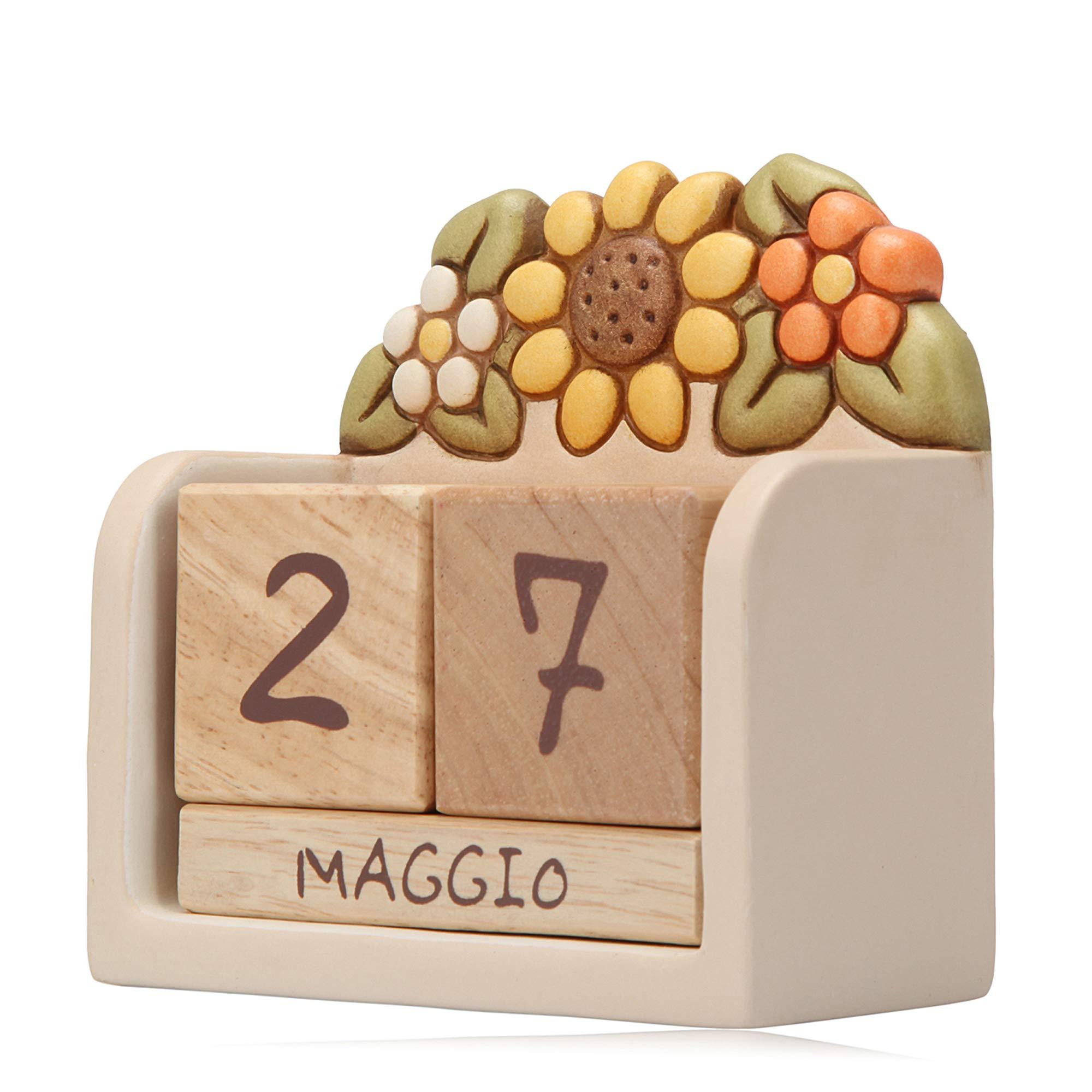 Thun Calendario.Thun Soprammobile Calendario Perpetuo Da Tavolo Ceramica Con Cubi In Legno Linea Country