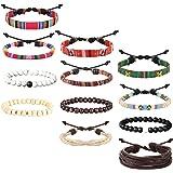 sailimue 12 Pezzi Pelle Perle di Legno Corda Bracciali Elastico per Uomo Donna Handmade Intrecciato Bracciali Cuoio Set Bracc