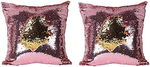 Tiwarifashion Stylish Sequin Mermaid Throw Pillow Cover with Magical Color Changing Reversible Paulette Design Decor Cushion Pillowcase Set of 2(12X12 inch) - Golden & Pink
