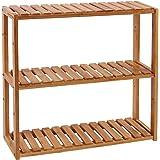 SONGMICS Badkamerrek van bamboe, plantenrek met 3 verstelbare planken, wandmontage of vrijstaand, woonkamer, hal of keuken, 6