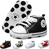 JOINFREE Baby Boys Girls Canvas Sneakers High Top Lace up Prewalkers Cribster Shoe Newborn First Walkers Shoes