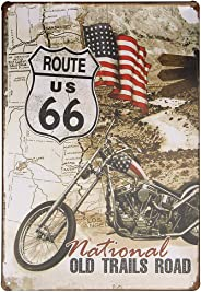 Tredo Route 66 Old Trails Road Easy Rider Motorcycle Bike Decorated Board T055