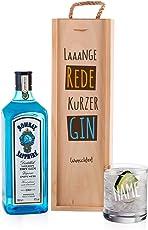 Bombay Sapphire Gin Geschenkset - lange Rede kurzer GIN - mit 1 l Bombay Sapphire und graviertem Glas in stilvollen Geschenkverpackung