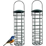 2 Pièce Mangeoire Oiseaux Exterieur en Métal, pour Mésanges, Moineaux et Divers Oiseaux Sauvages, Solides et Stables, Vertes