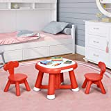 COSTWAY Kids Table Chair Set, Double Side Table + 2PCS Chairs with 2 Drawers, Writable and Erasable Tabletop Nursery…