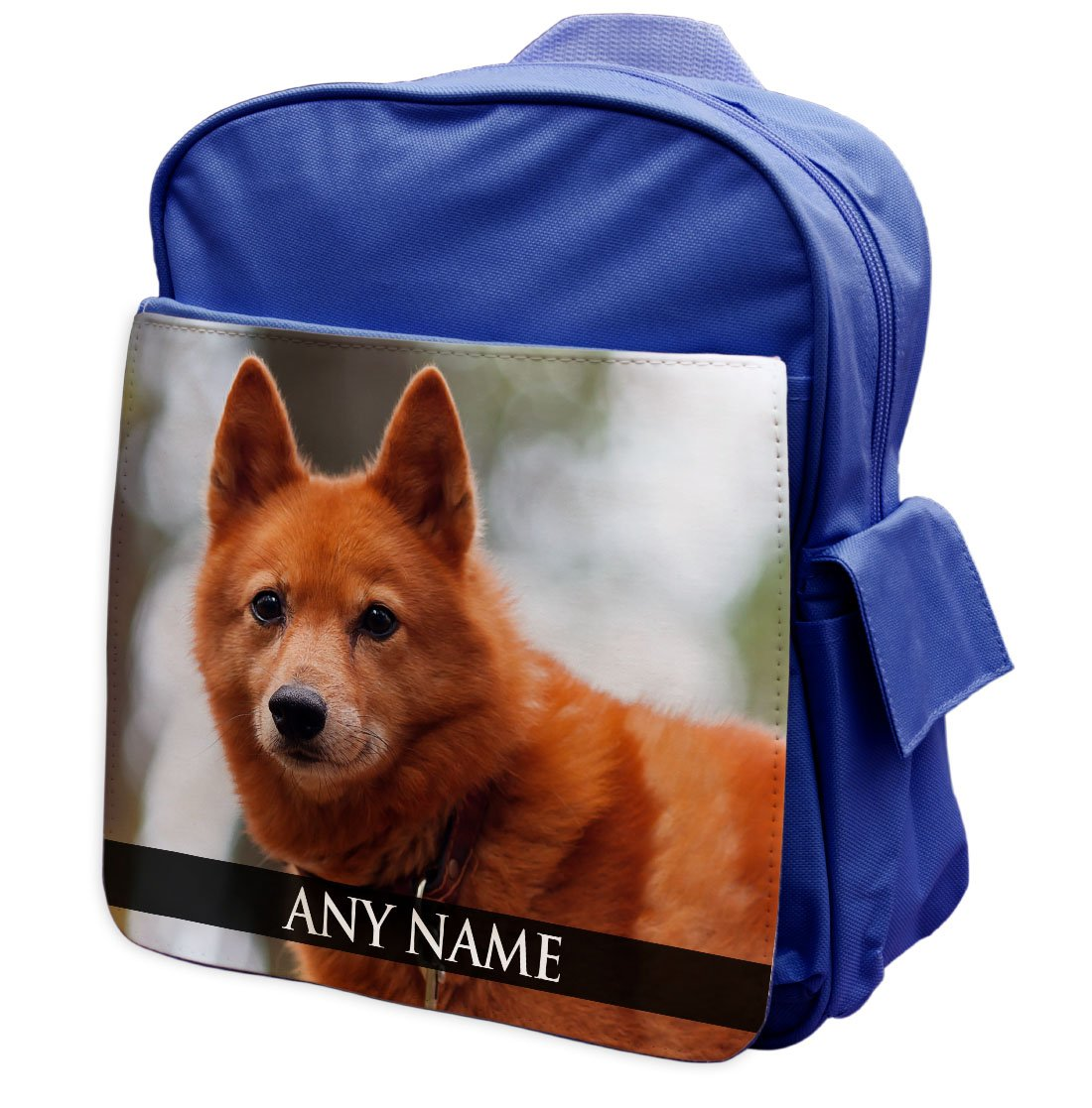 Personalised Finnish Spitz Dog Animal BLUE Rucksack Backpack 120