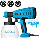 Tilswall Farbsprühsystem 550W Elektrisches Farbspritzgerät mit 1300ML Behälter, einstellbare Fließgeschwindigkeit, 3 Düsenspitzen, Max 120 DIN/s,Für Lacke & Lasuren im Innen- & Außenbereich